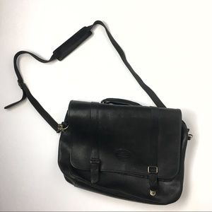 dd36e12b4385 Eddie Bauer Vintage Black Leather Messenger Bag